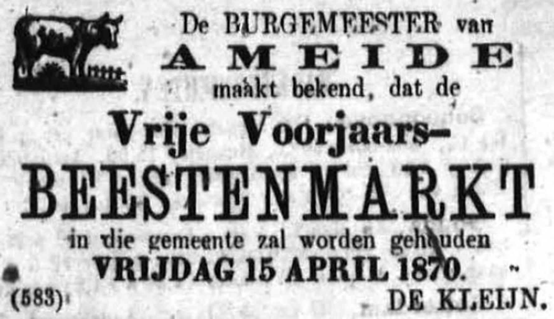 Schoonhovensche Courant 00040 1870-04-03 artikel 1