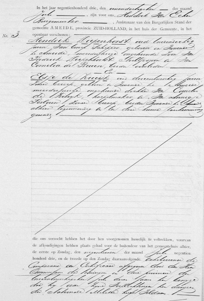 huwelijk Hendrik Diepenhorst en Elsje de Kruijk 1  31-07-1903_Pagina_004