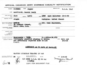 34 Overseas Casualty Notification 5-4-1945
