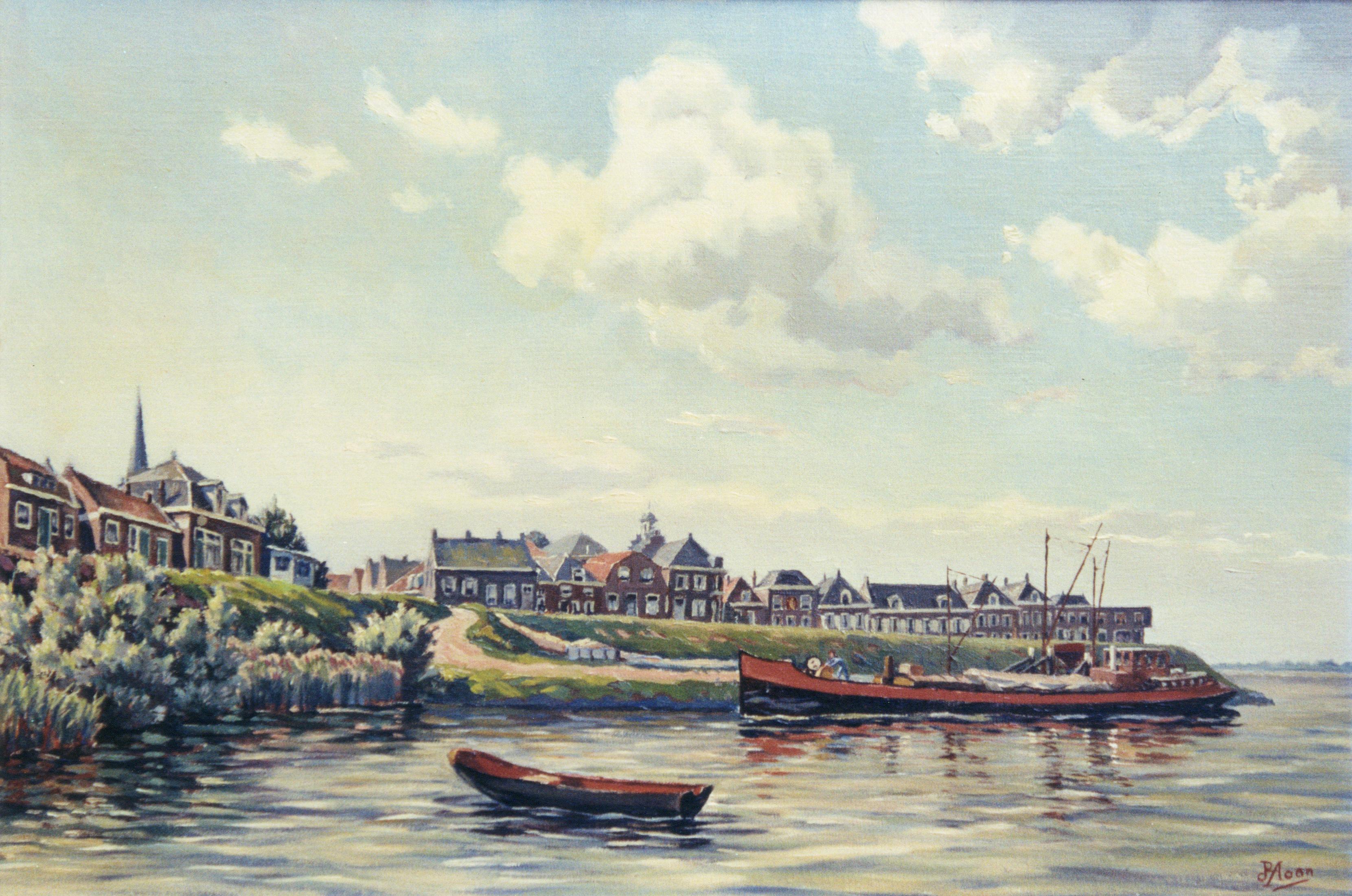 De loswal aan de lek met zicht op ameide geschilderd door p a de hoon historische vereniging - Associatie van kleur e geen schilderij ...