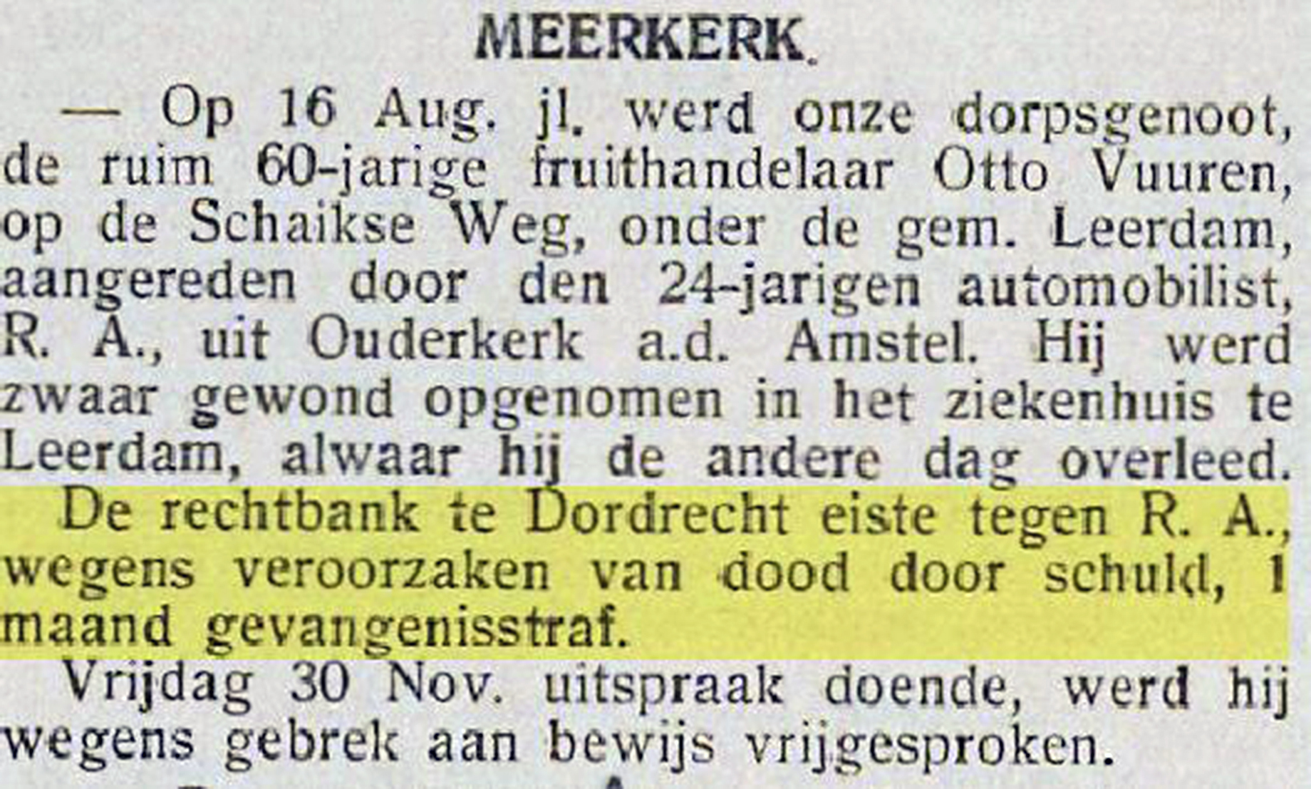 Knipsel Nieuwsblad Gorinchem 07-12-1934