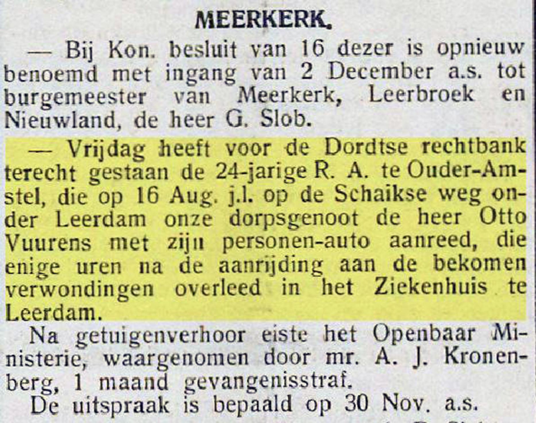 Knipsel Nieuwsblad Gorinchem 23-11-1934