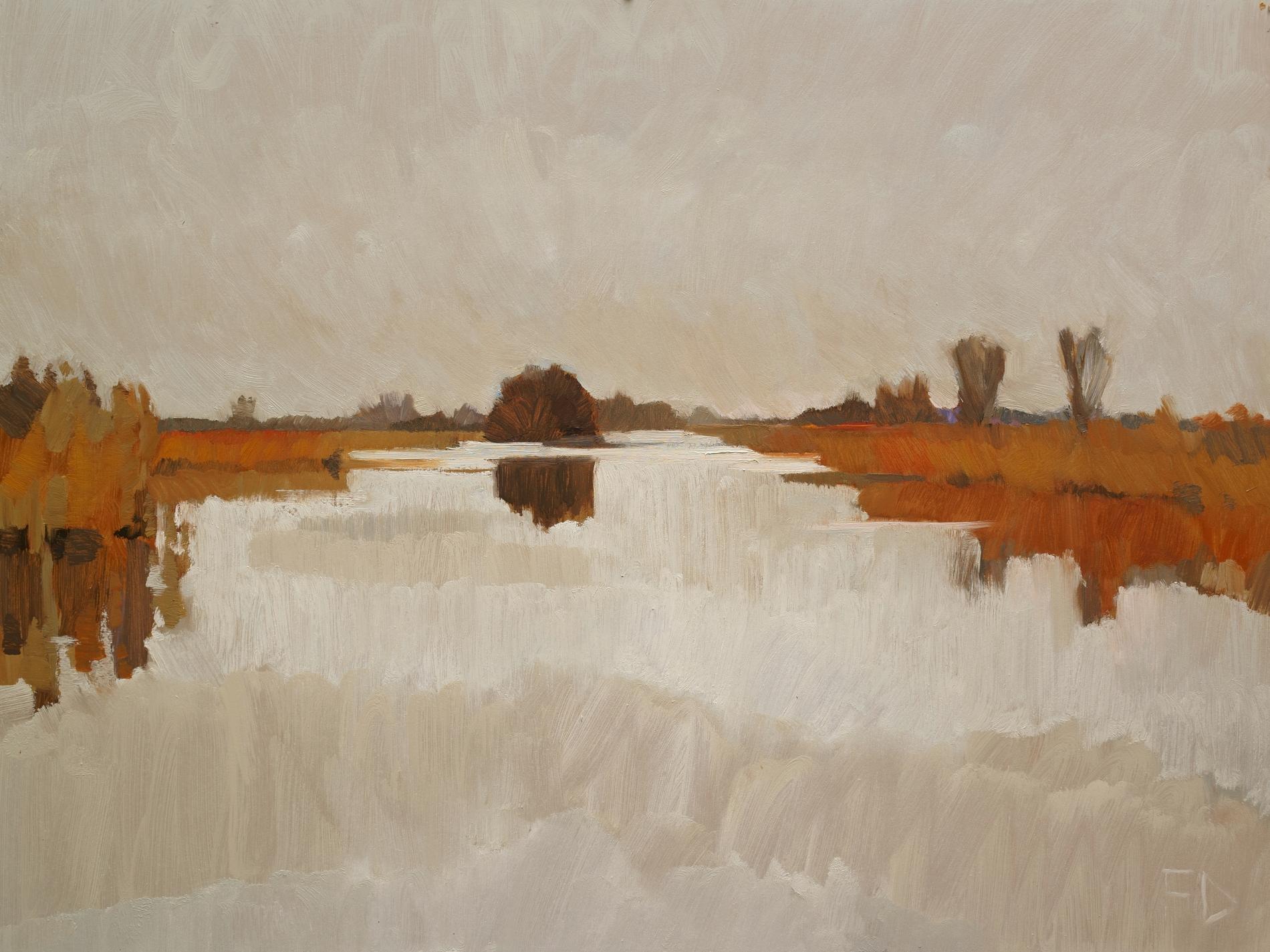 Frank Dekkers Winter in aantocht 17-12-13 olieverf op paneel 60 x 80 cm