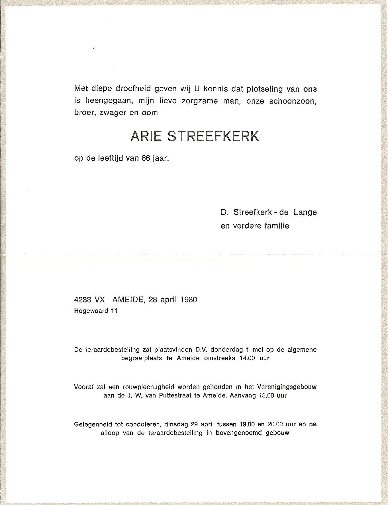 Rouwkaart Arie Streefkerk (-1980)