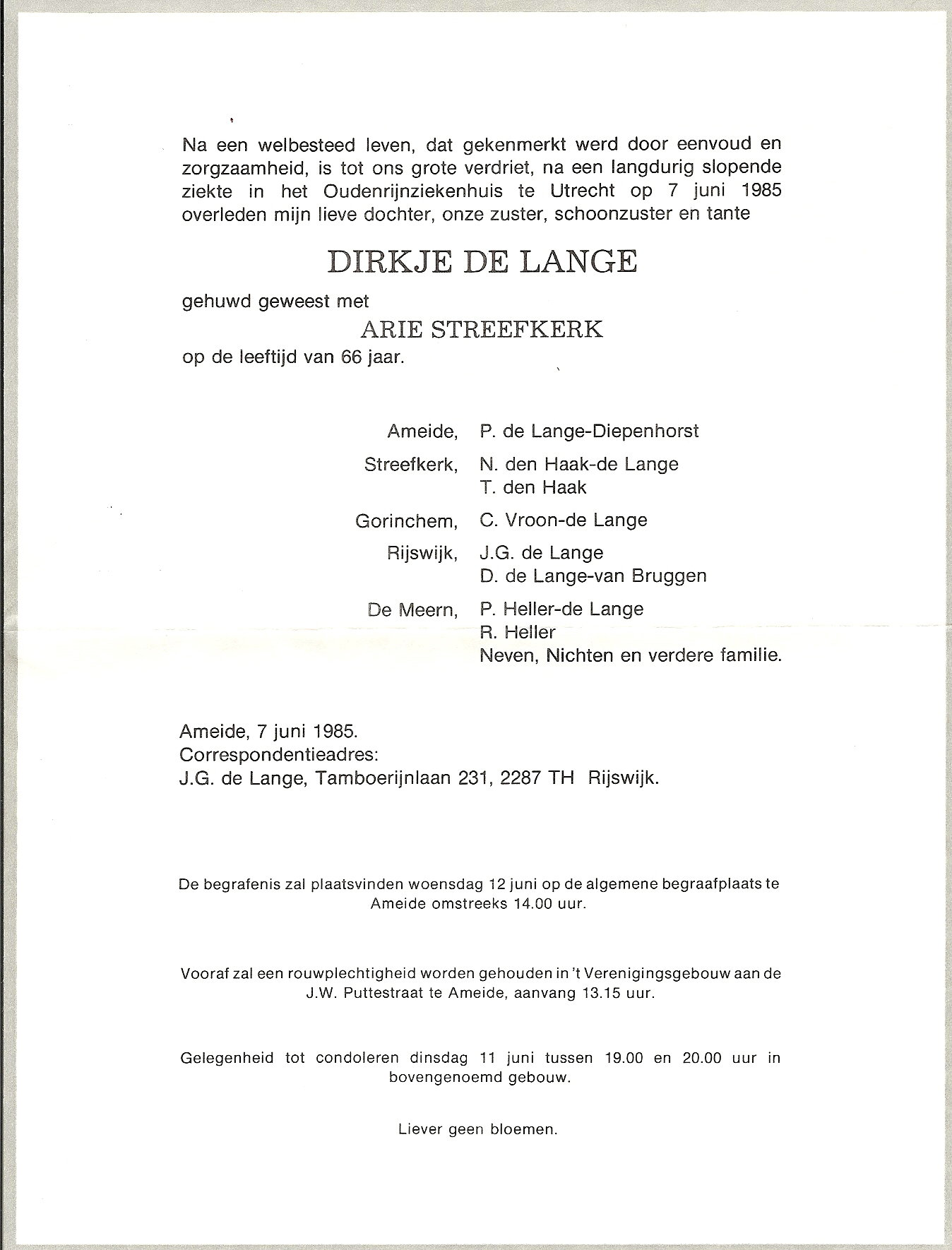Rouwkaart Dirkje Streefkerk-de Lange (-1985)