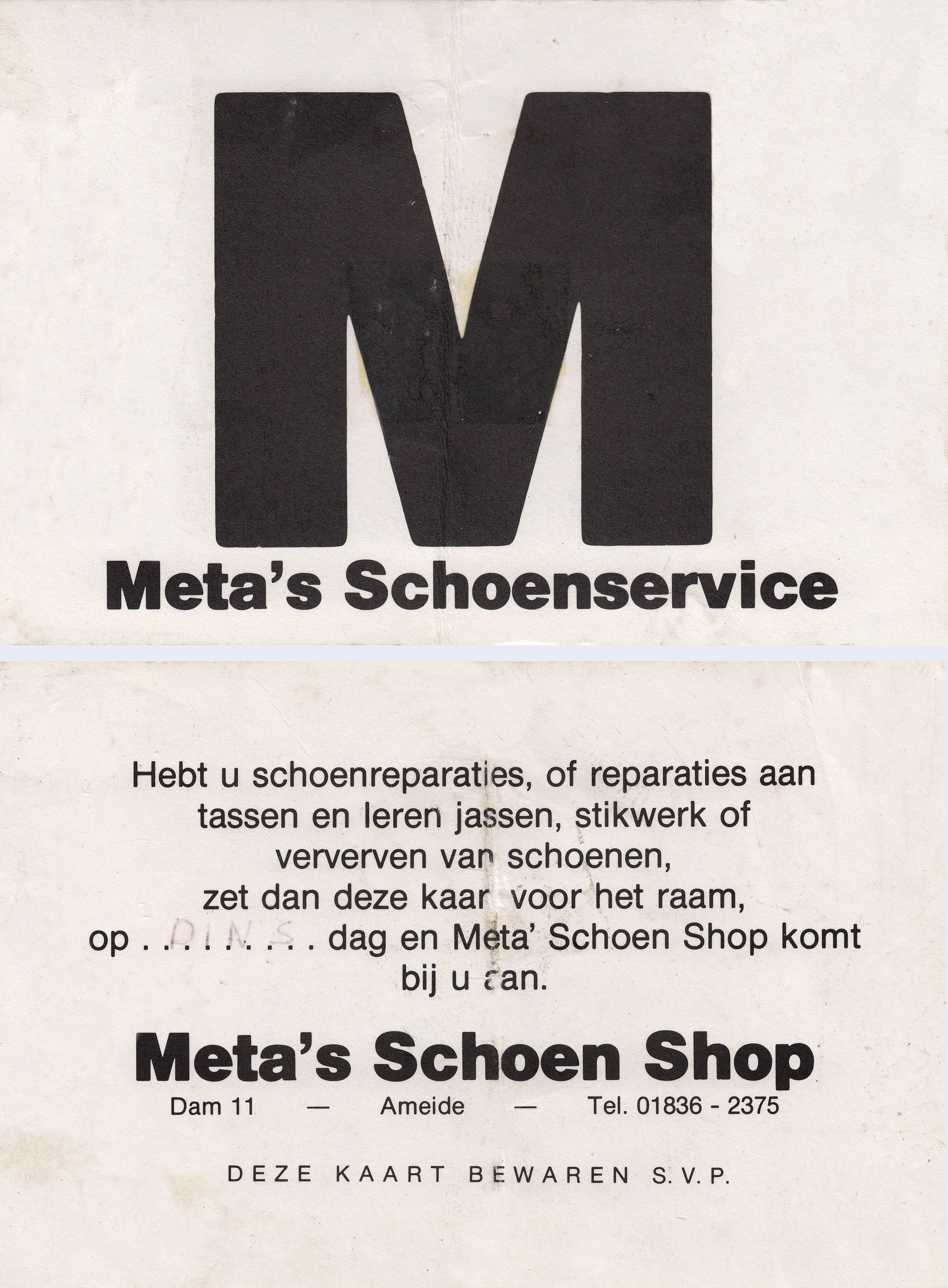 meta schoenshop klantenkaart