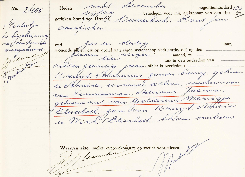 overlijdensakte Adrianus Kruijt (1872-1950) bewerkt